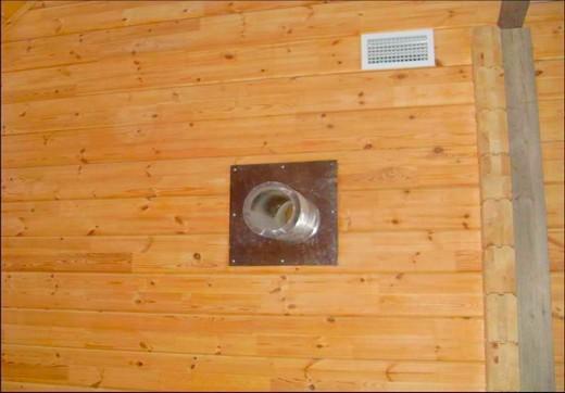 Внешний вид вентиляционной системы предбанника бани