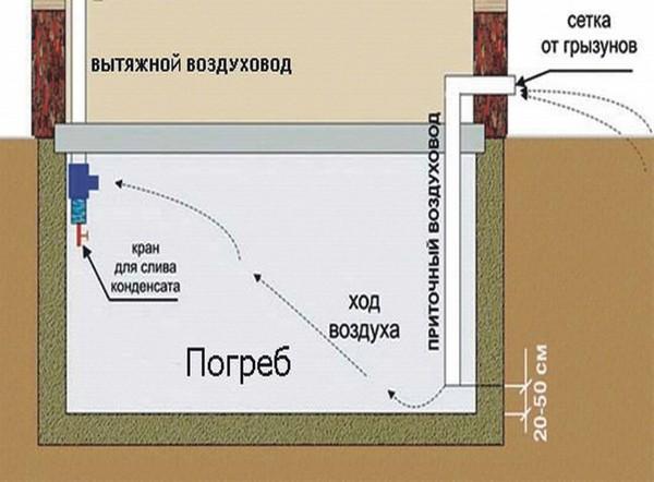 Стандартная схема вентиляции в подвальном помещении частного дома