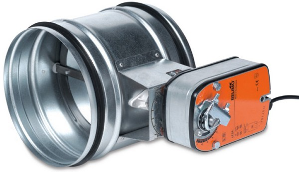 Современный воздушный клапан системы вентиляции с блоком электропривода