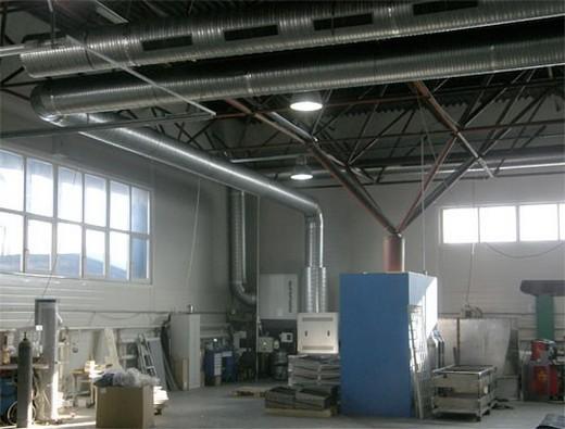 Внешний вид системы вентиляции сварочного цеха