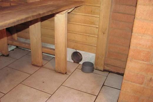 Вентиляция по полу в бане из бруса