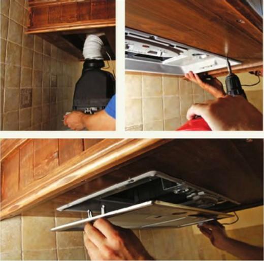 Процесс монтажа жирового фильтра в кухонную вытяжку