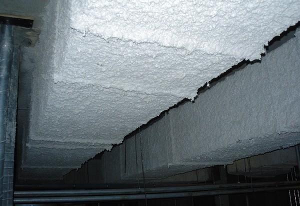 Воздуховод вентиляции, обработанный составом высокой степени огнестойкости