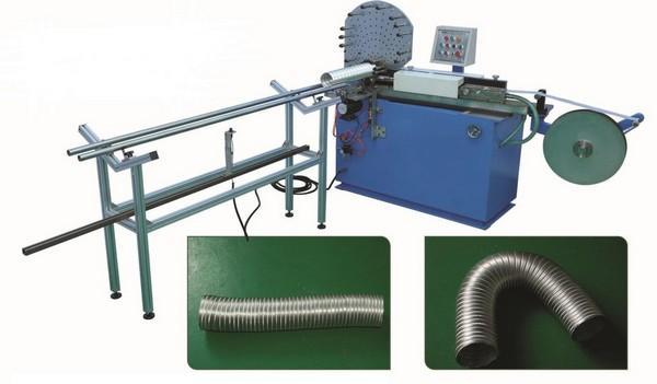 Оборудование для производства гибких воздуховодов и готовая продукция на фото